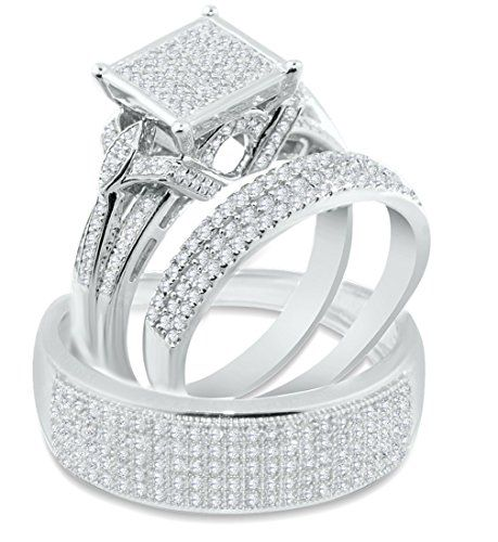 White Gold Trio Rings Set His And Her Rings Set 0 90ctw Extra Wide