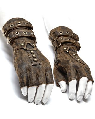 Punk Rave Men's Steampunk Engineer Gloves - Brown - - Fantasy Worlds - . Punk rave mens steampunk engineer gloves - brown - - Worlds of imagination - . Punk rave mens steampunk engineer gloves - brown - - Worlds of imagination - Gants Steampunk, Moda Steampunk, Costume Steampunk, Steampunk Accessoires, Style Steampunk, Steampunk Clothing, Steampunk Gloves, Steampunk Armor, Steampunk Outfits