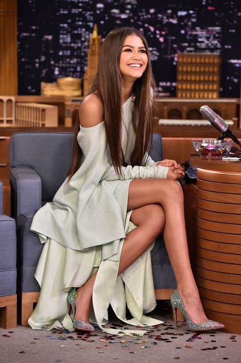 zendaya 6/20/17 on 'the tonight show with jimmy fallon' wearing  sies marjan fall 2017 piece (a crew neck sweatshirt & hi/lo asymmetrical mint skirt) and sparkly louboutin 'pigalle' pumps. casual with a refined ease.