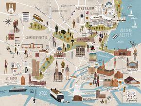 The Fontenay Hotel Hamburg Martin Haake Illustrations Hamburg Grand Budapest Hotel Illustrated Map