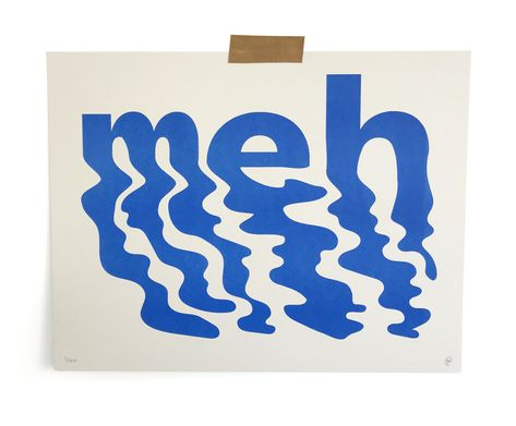 Meh — Ryan Putnam We're type lovers here. Are you an aspiring graphic designer? Feed your design hunger at Referential Treatment. See more type, typefaces, best font combinations, and the like on this board. Creative Typography, Typography Letters, Typography Poster, Graphic Design Typography, Graphic Design Letters, Graphic Design Print, Vintage Typography, Typography Quotes, Herb Lubalin