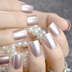 Coolnail Champagne Metallic Short False Nails Tips Pearl Frosted Feel Full Cover Artificial Fake Nail For Home Office Acrylicnails Afflink Coffin Almo Makyaj