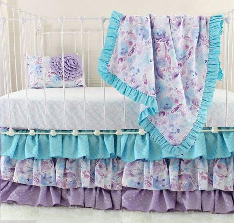 Purple Crib Bedding Set Ocean Dreams Perless Baby Lavender Aqua Custom Nu