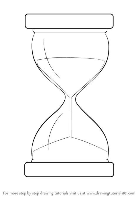 Hourglass Is A Old Style Clock Which Is Used To Estimate The Timing In The Day In This Tutorial We Will Draw Hourg Hourglass Drawing Hourglass Clock Drawings