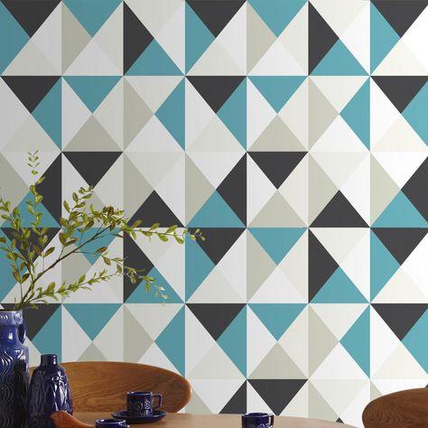Papier peint graphique à motif triangles noir, blanc et bleu, chez ...