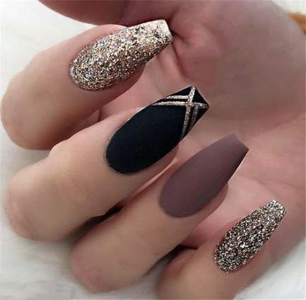 coffin black and white nails matte  nail and manicure trends