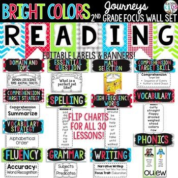 Bright Colors Journeys 2nd Grade Focus Wall Set Reading Focus Walls Kindergarten Focus Walls Journeys Kindergarten