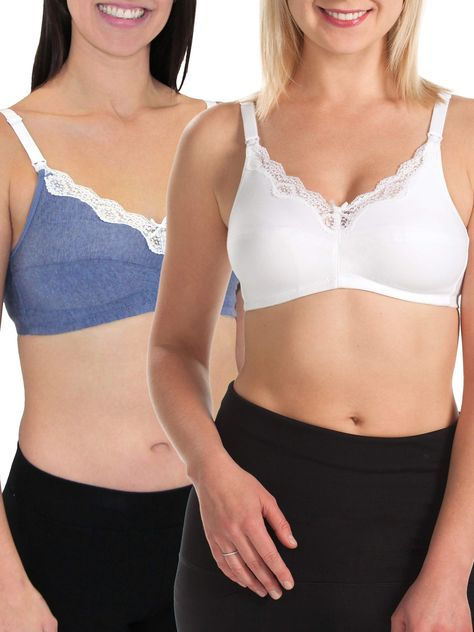 39e791f3ac38c Loving Moments by Leading Lady Maternity Wirefree Lace Trim Softcup Nursing  Bra with Full Sling