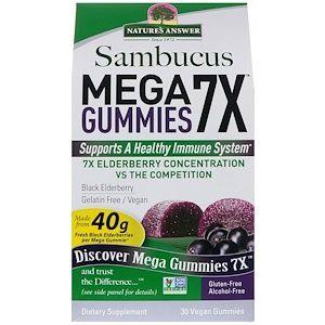 Nature S Answer サンブカスmega Gummies 7x メガグミ7x ストレングス ブラックエルダーベリー ゼラチンフリー ヴィーガングミ30粒 비건 건강한 젤라틴