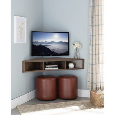 Ebern Designs French Floating Corner TV Stand for TVs up to 50 inches Ebern Designs Color: Walnut Oak , Room Corner, Small Living Room, Wall Mounted Media Console, Corner Tv Cabinets, Tv In Bedroom, Corner Wall, Living Room Corner, Mounted Tv Ideas Living Rooms, Bedroom Tv Wall