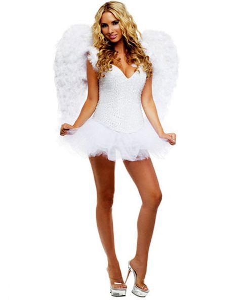 Ladies Christmas Fancy Dress Angel deluxe Costume 16-18