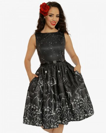 Collectif 50s Style Mimi Cranes Blossom Print Black Doll Dress