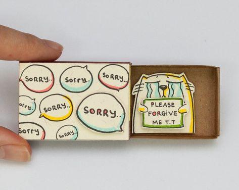 Sorry Card / Cute Forgive me Card/ Apology Card / Matchbox / | Etsy