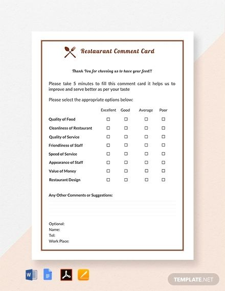 Free Restaurant Comment Card Template Pdf Word Apple Pages Google Docs Card Template Card Templates Printable Place Card Template