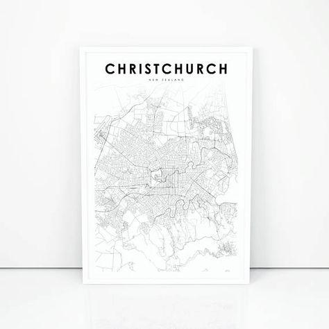 Christchurch Map Print, New Zealand Map Art Poster, City Street Road on