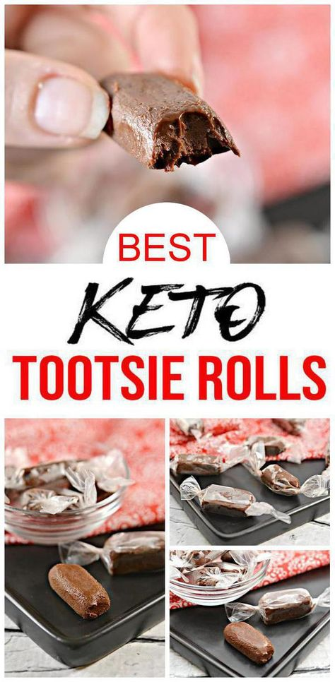 Need a great keto candy recipe? Try low carb Tootsie Rolls.Yes, chewy keto Tootsie Rolls to please any crowd. Make homemade candy w/ this easy Tootsie Roll recipe.Great alternative to high carb Halloween candy. Make gluten free, sugar free chocolate Tootsie Rolls.DIY candy that is simple to make.Makes the perfect candy for Fall.Great grab & go keto snacks, keto desserts or low carb treats.Ketogenic diet #candy tasty & delish. Learn how to make candy at home w/ this Tootsie Roll idea. #chocolate Allergy Free Recipes, Diabetic Recipes, Low Carb Recipes, Low Carb Candy, Keto Candy, Tootsie Rolls, Keto Holiday, Fast Metabolism Diet, Low Life