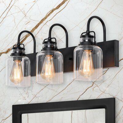 17 Stories Hickmon 3 Light Dimmable Vanity Light Finish Matte Black Vanity Lighting Farmhouse Vanity Lights Black Bathroom Light Fixtures