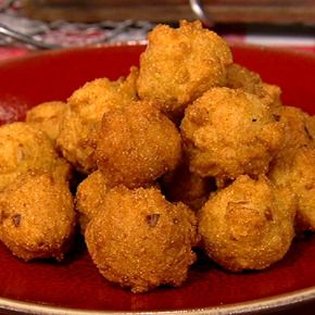 I'm from the South. So I love, love, love, hushpuppies. I'm gonna try this recipe. Also the fried green tomato recipe (it's missing directions) These are from Carla Hall, who is a true Southerner so she should be able to make some fierce hushpuppies.  http://beta.abc.go.com/shows/the-chew/recipes/Carla-Hall-Fried-Green-Tomato