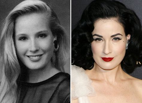 That is Dita Von Teese before she was famous. And apparently before she became the raven haired pin up girl we know today. Her name before she changed it was Heather Sweet.