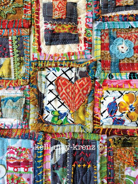 Patches of love by Kelli May-Krenz. Colorful little frames surround textiles and hand stitching. Sewing Art, Sewing Crafts, Sewing Projects, Vintage Paper, Vintage Fabrics, Fabric Journals, Textiles, Quilt Festival, Crewel Embroidery