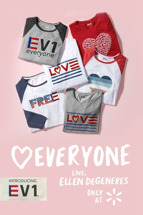 Introducing EV1 from Ellen DeGeneres, available 9/10 only at Walmart. Clothes we all look and feel good in. Now who doesn't love that?  Available on Walmart.com and in select Walmart stores.