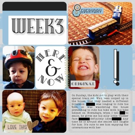 Week Three Project Life layout using Here and Now Bundle at www.pixelscrapper.com