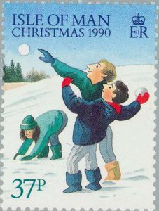 Isle of Man, 1990. Christmas stamp - Winter landscape. The Isle of Man is a self-governing British Crown dependency located in the Irish Sea between the islands of Great Britain and Ireland.