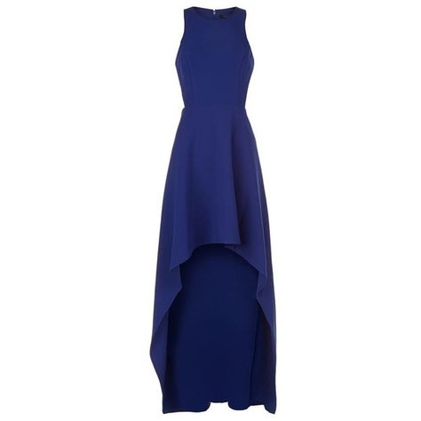 BCBGMAXAZRIA Cut-Out Side Maxi Dress (£325) ❤ liked on Polyvore featuring dresses, blue dress, high low maxi dress, hi lo dresses, blue hi low dress and side cut out maxi dress