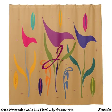 Cute Watercolor Calla Lily Floral Monogrammed Shower Curtain