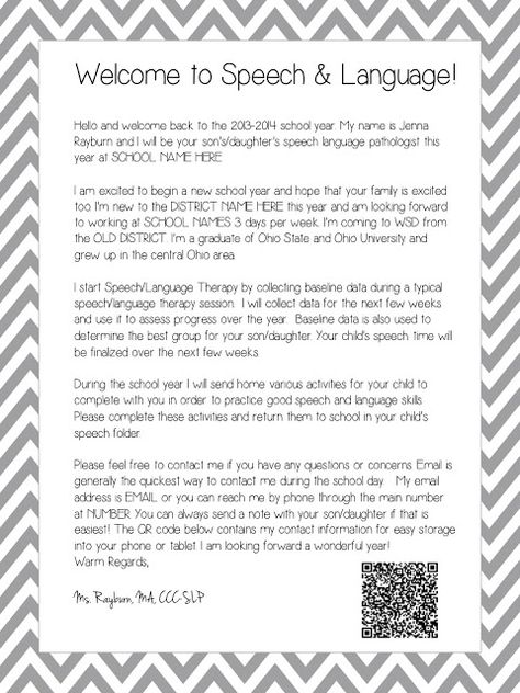 Speech Room News: SLP 101: Welcome Letters with QR code