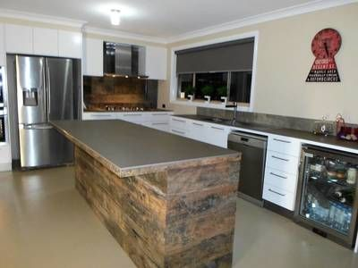 Weathered Face Sleeper Kitchen Island Bench With Recycled Timber Newcastle Nsw Timber Kitchen Recycled Wood Projects Recycle Timber