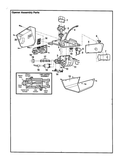 Opener Assembly Diagram Parts List For Model 13953650srt Craftsman