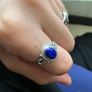 Details about  /925 Sterling Silver Natural Oval Lapis Lazuli Gemstone Ring For Engagement Ring