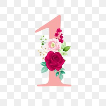 Rose Gold Number 1 With Bouquet Logo Flower Wedding Png And Vector With Transparent Background For Free Download Watercolor Flowers Watercolor Rose Floral Watercolor