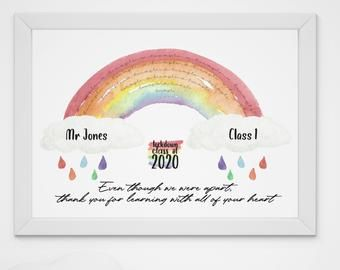 Nursery Lockdown Teacher Gifts Key Worker Lockdown Thank You Gifts for Teaching Assistant PERSONALISED Rainbow Teacher Appreciation Gifts Rainbow Teacher Thank You Plaque Gifts