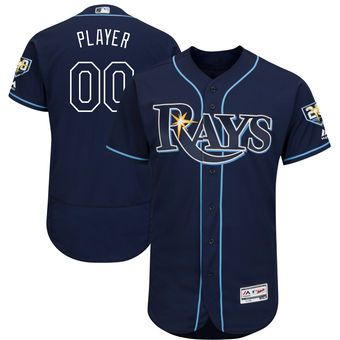 Tampa Bay Rays Majestic 20th Anniversary Alternate On Field Patch Flex Base Custom Jersey Navy Tampa Bay Rays Beisbol Basquet