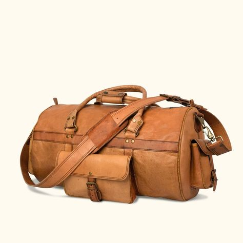 4b96f3a8495516 Roosevelt Buffalo Leather Travel Duffle Bag | Amber