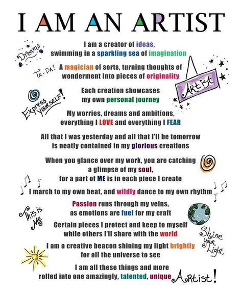 I Am An Artist poem Mantra Creative Inspiration 8 x 10 Print DEDICATED to ALL Artists