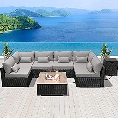 Dineli Patio Furniture Sectional Sofa, Dineli Patio Furniture Sectional Sofa With Gas Fire Pit Table Ou
