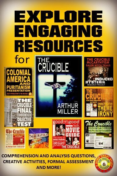 explore the many engaging activities for teaching the crucible  explore the many engaging activities for teaching the crucible powerpoint  introduction act questions formal assessment essay prompts and tests