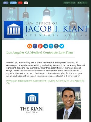 Physician Employment Agreement Review Attorney in Los Angeles CA - physician employment agreement