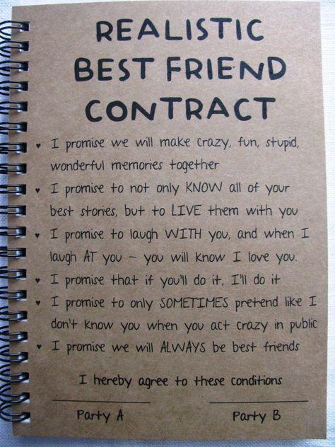 Realistische besten Freund Vertrag - 5 x 7-Zeitschrift ...