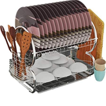 2 Tier Dish Rack And Drainboard Set Stainless Steel Dish Drainer