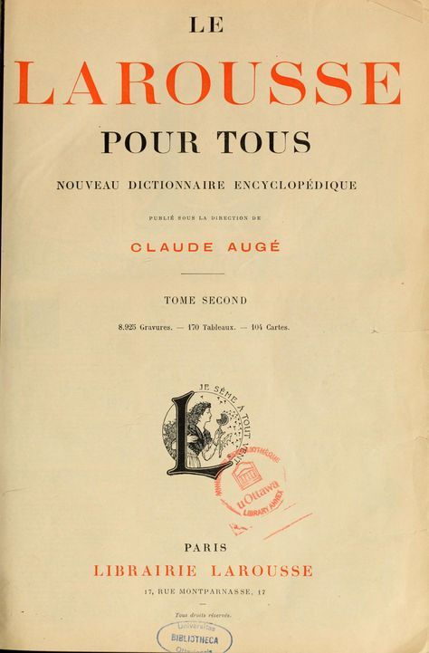Le Larousse Pour Tous Nouveau Dictionnaire Encyclopedique