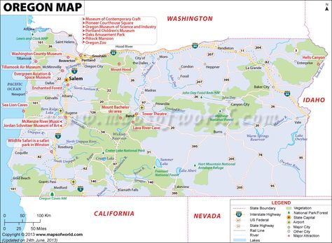Oregon Map Showing The Major Travel Attractions Including Cities