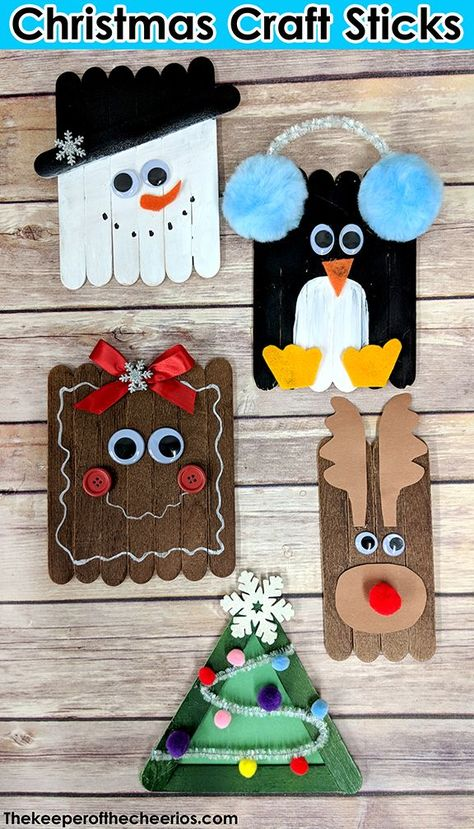 Christmas Craft Sticks, popsicle stick Christmas crafts, Easy kids Christmas crafts, rudolph, snowman, penguin, gingerbread, christmas tree  #Christmas, #christmas #rudolph #christmascrafts #gingerbread #penguins #snowmancrafts #christmastree