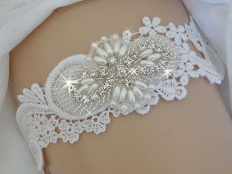 c74dfd41b Wedding Garter - Garter with Rhinestones and Pearls - White or Ivory Venise  Lace Garter - Garter Belt by bridalambrosia on Etsy
