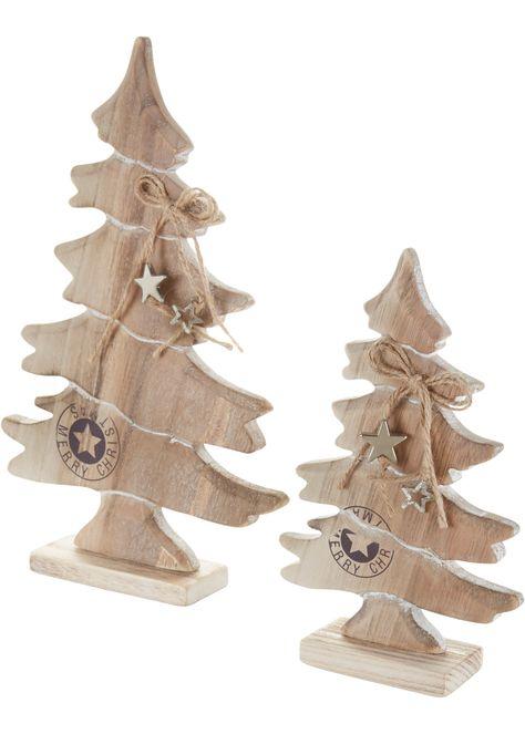 Deko Holz Weihnachtsbaume 2er Set Natur Jetzt Im Online Shop Von