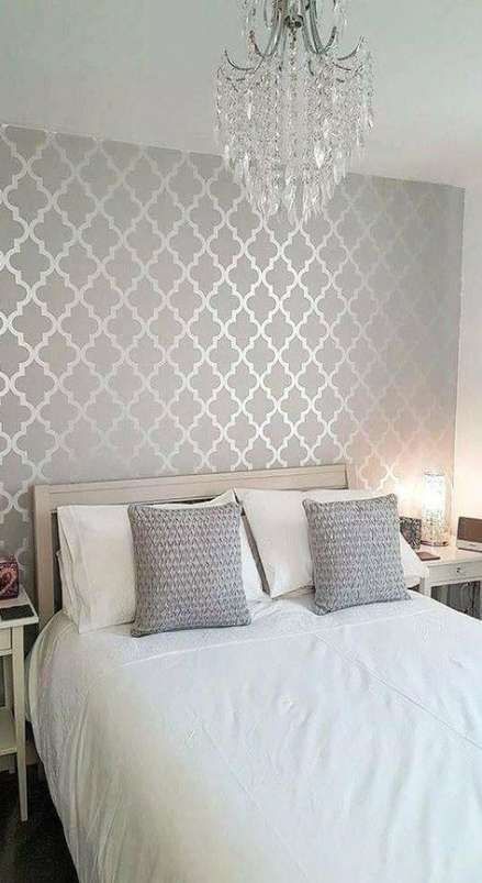 Super Silver Wallpaper Living Room Grey Interior Design Ideas Super Silver Wall In 2020 Silver Wallpaper Living Room Master Bedroom Wallpaper Wallpaper Decor Bedroom