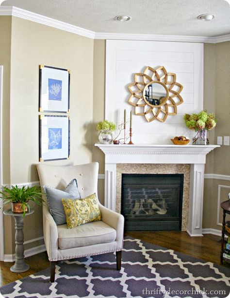 Natural fall mantel in family room. Fall mantel link up party at thriftydecorchick